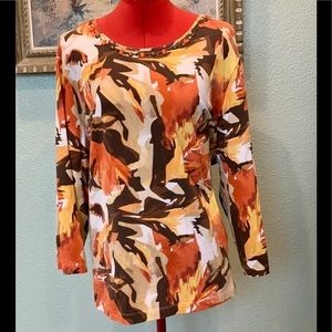 Alfred Dunner fall floral rhinestone top in sz 2X